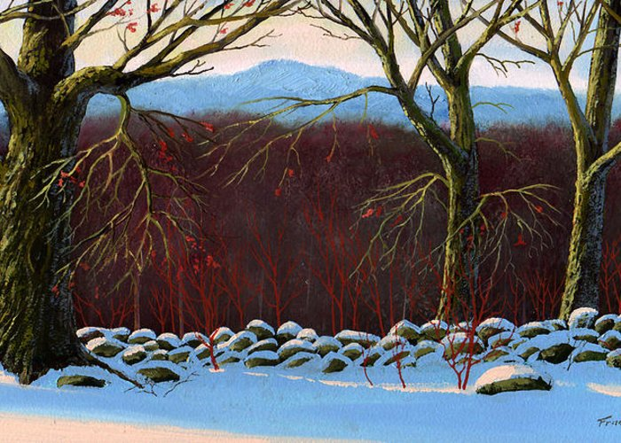 Landscape Greeting Card featuring the painting Vermont Stone Wall by Frank Wilson