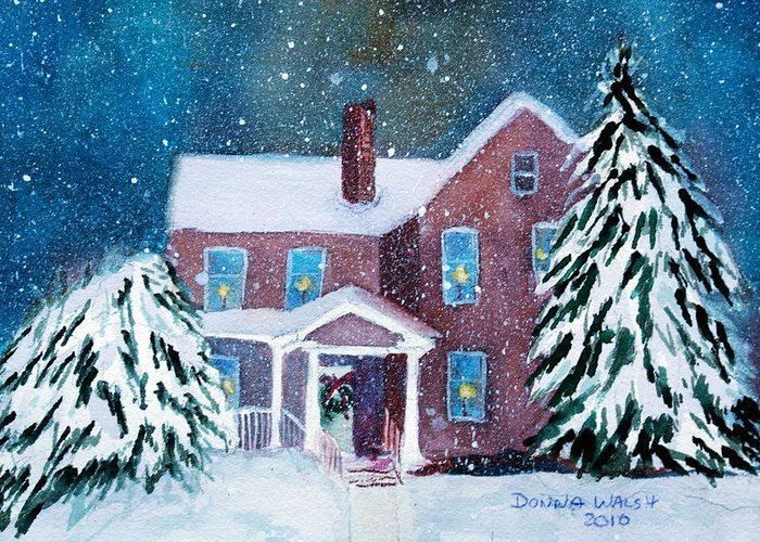 Winter Greeting Card featuring the painting Vermont Studio Center In Winter by Donna Walsh