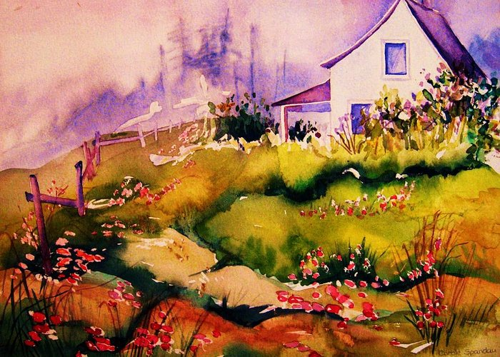 Cottagescenes Greeting Card featuring the painting Vermont Summers by Carole Spandau