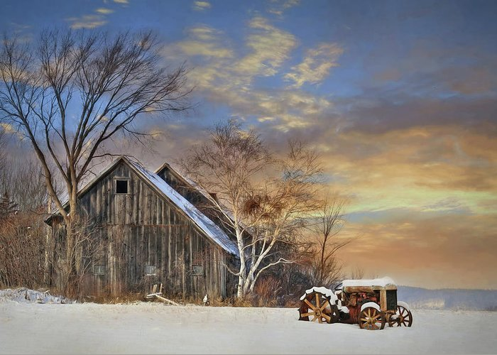 Barn Greeting Card featuring the photograph Vermont Sunset by Lori Deiter