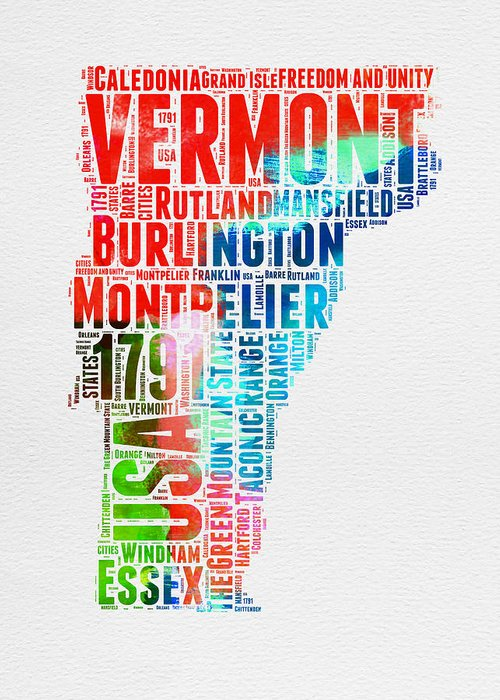 Vermont Map Greeting Cards
