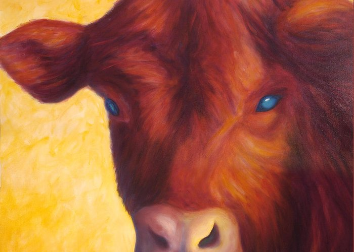 Bull Greeting Card featuring the painting Vern by Shannon Grissom