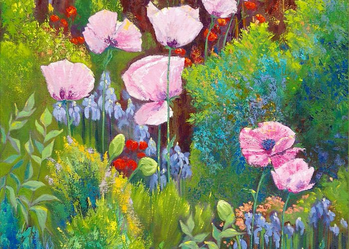 Floral Garden Greeting Card featuring the painting Verna by Bente Hansen