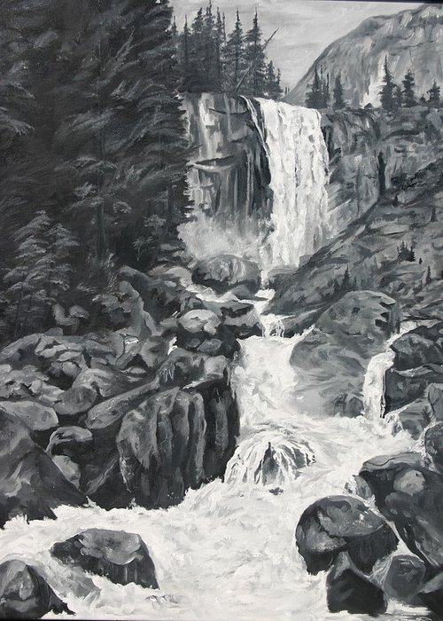 Landscape Greeting Card featuring the painting Vernal Falls Black And White by Travis Day