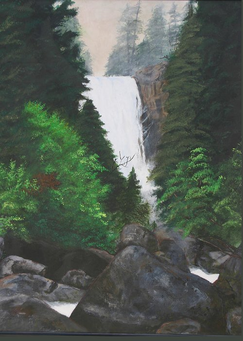 Landscape Greeting Card featuring the painting Vernal Falls by Travis Day