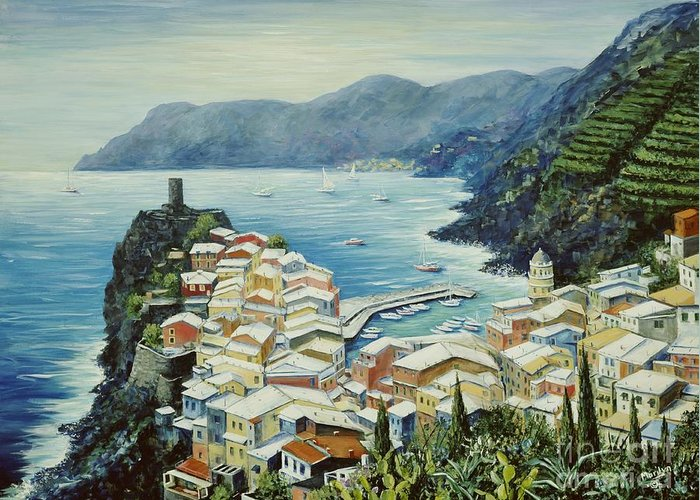 Vernazza Greeting Card featuring the painting Vernazza Cinque Terre Italy by Marilyn Dunlap