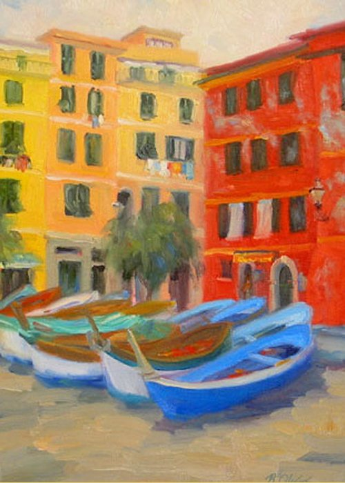 Italy Greeting Card featuring the painting Vernazza Fleet by Bunny Oliver