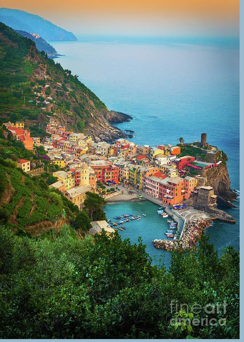 Cinque Terre Greeting Card featuring the photograph Vernazza From Above by Inge Johnsson