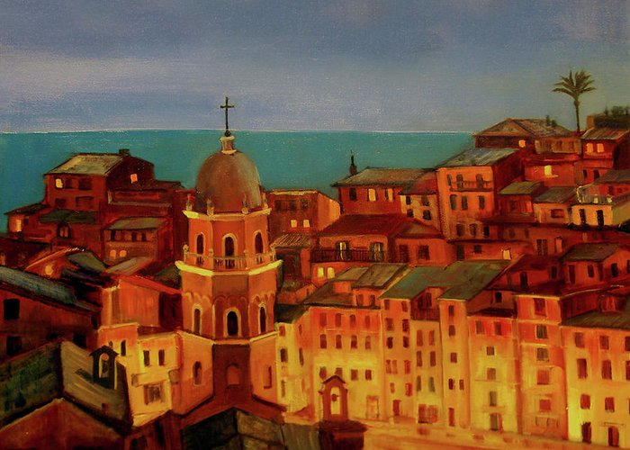 Landscape Greeting Card featuring the painting Vernazza Twilight by Norah Brown