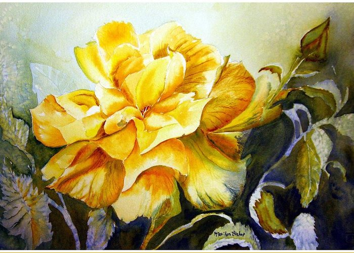 Yellow Rose Greeting Card featuring the painting Vernon's Rose by Marilyn Bishop
