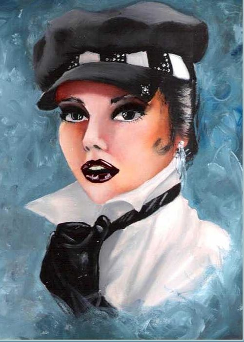 Portrait Greeting Card featuring the painting Veronica by Scarlett Royal