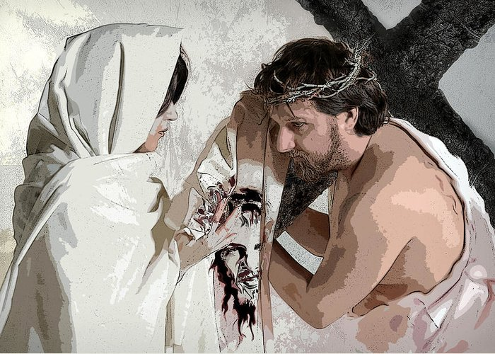 Religious Greeting Card featuring the photograph Veronica Wipes The Face Of Jesus by Jacqueline Milner