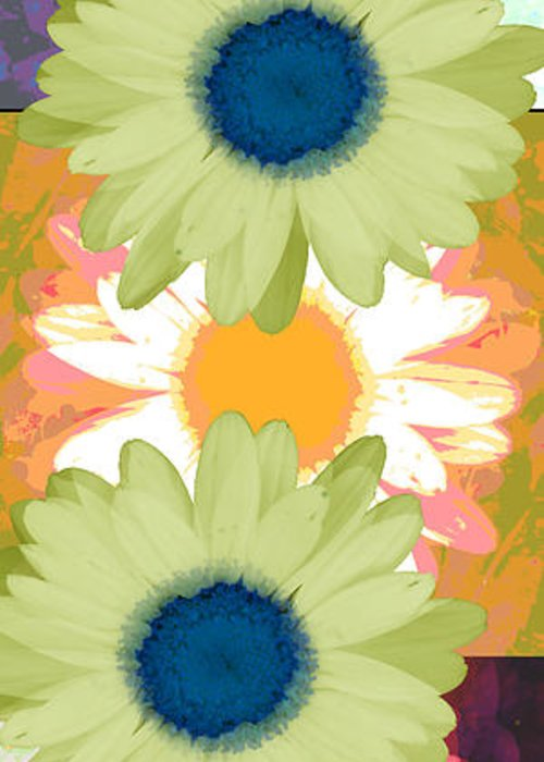 ruth Palmer Art Greeting Card featuring the digital art Vertical Daisy Collage II by Ruth Palmer