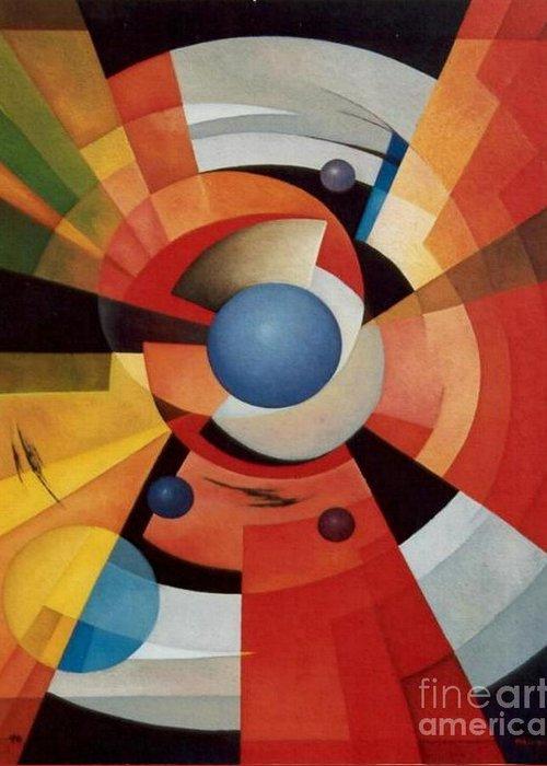 Abstract Greeting Card featuring the painting Vertigo by Alberto DAssumpcao