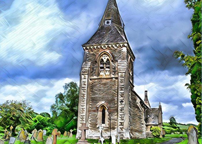 Church Greeting Card featuring the digital art Very Old Church by Pennie McCracken