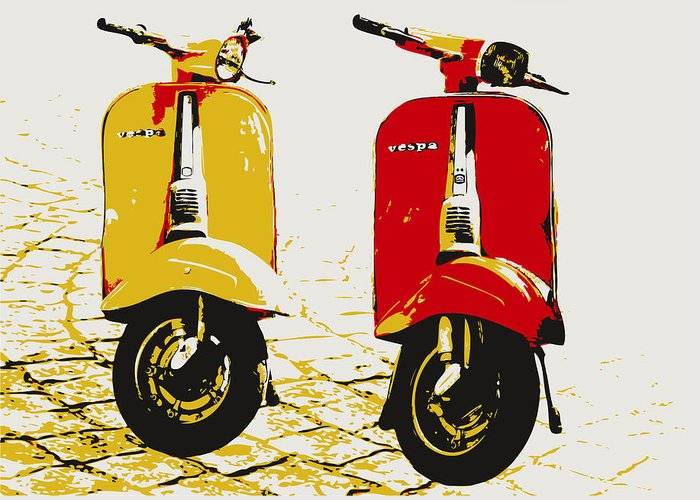Vespa Greeting Card featuring the digital art Vespa Scooter Pop Art by Michael Tompsett