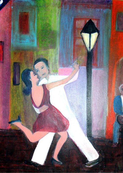 Urban Landscape Greeting Card featuring the painting Veux Tu Tango by Michela Akers