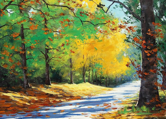 Fall Greeting Card featuring the painting Vibrant Autumn by Graham Gercken