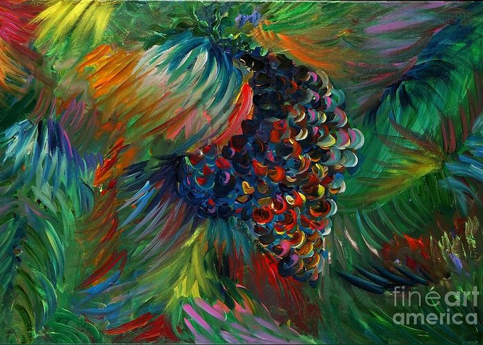 Grapes Greeting Card featuring the painting Vibrant Grapes by Nadine Rippelmeyer