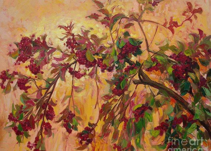 Viburnum Greeting Card featuring the painting Viburnum by Sergey Ignatenko