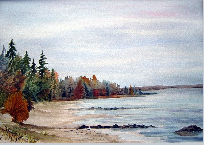 Victoria Beach Manitoba Shoreline Greeting Card featuring the painting Victoria Beach In Manitoba by Joanne Smoley