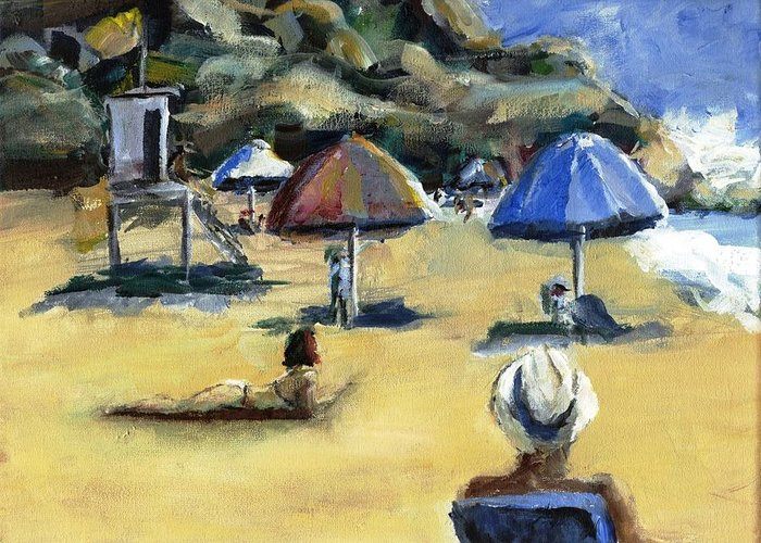 Umbrella Greeting Card featuring the painting Victoria Beach White Hat by Randy Sprout