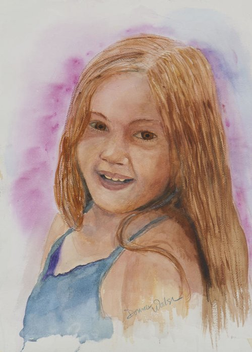Girl. Portrait Greeting Card featuring the painting Victoria by Donna Walsh