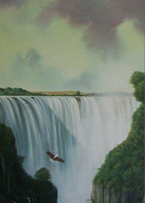Water Greeting Card featuring the painting Victoria Falls by Don Griffiths
