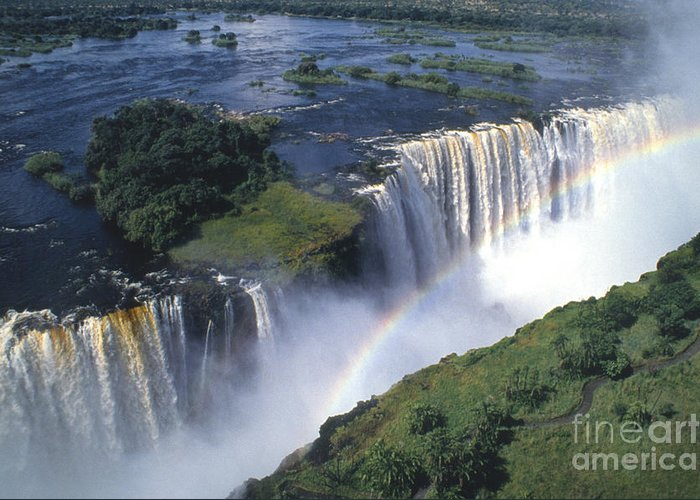 Africa Greeting Card featuring the photograph Victoria Falls Rainbow by Sandra Bronstein
