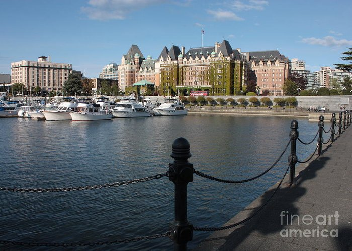 Victoria Greeting Card featuring the photograph Victoria Harbour With Railing by Carol Groenen