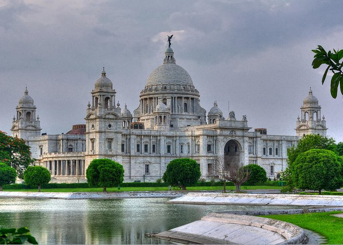 Victoria Memorial Hall Greeting Card featuring the photograph Victoria Memorial Hall Calcutta Kolkata by Srijan Roy Choudhury