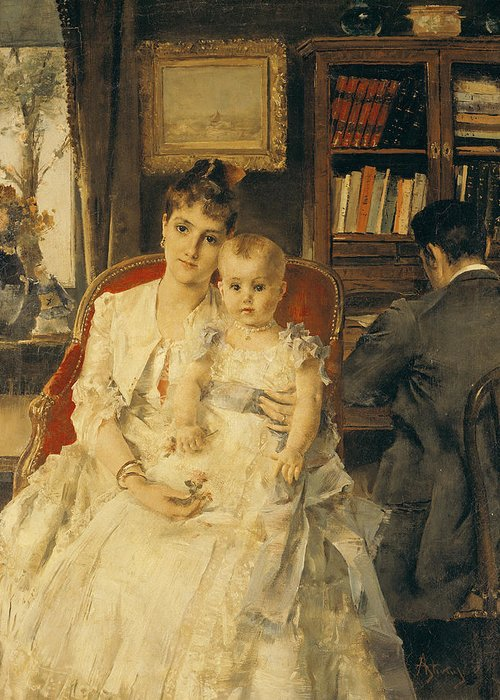 All Greeting Card featuring the painting Victorian Family Scene by Alfred Emile Stevens