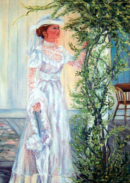 Victorian Greeting Card featuring the painting Victorian Lady on Poarch by Lorna Skeie
