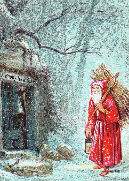 Santa Greeting Card featuring the painting Victorian New Year's Card With Father Christmas Carrying Bundle Of Sticks On A Snowy Night by English School