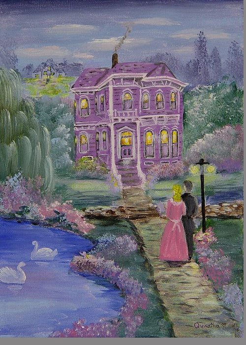 Victorian Greeting Card featuring the painting Victorian Romance 1 by Quwatha Valentine