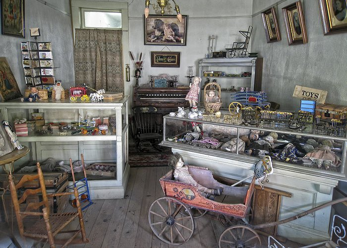 Victorian Greeting Card featuring the photograph Victorian Toy Shop - Virginia City Montana by Daniel Hagerman
