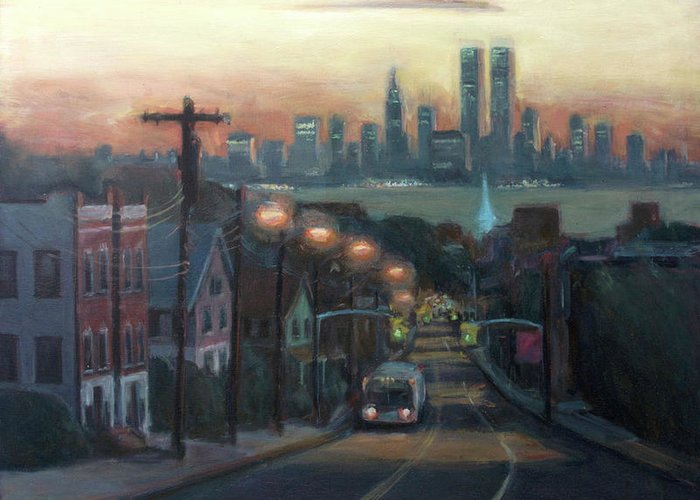 Manhattan Skyline Greeting Card featuring the painting Victory Boulevard At Dawn by Sarah Yuster