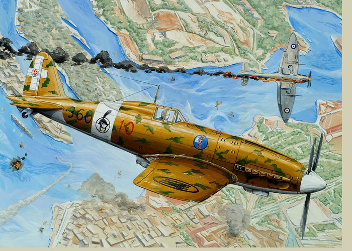 Macchi Greeting Card featuring the painting Victory Over Malta by Charles Taylor