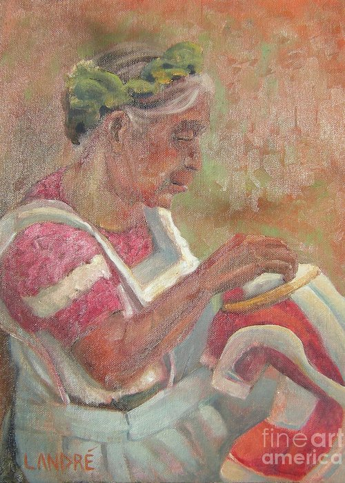 Mexican Greeting Card featuring the painting Viejita Bordando by Lilibeth Andre
