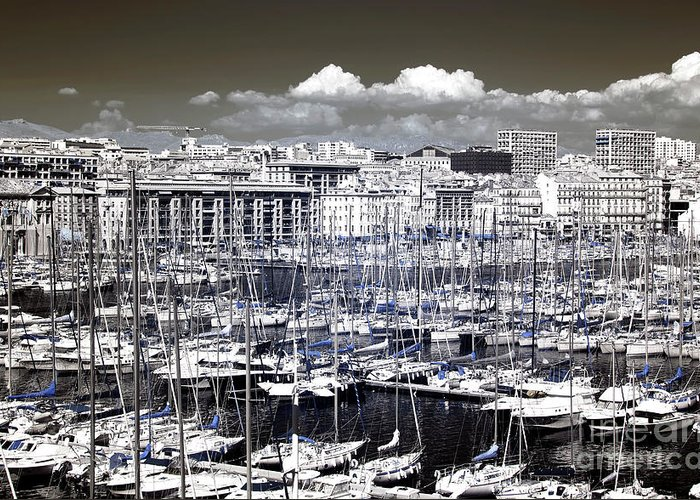 Vieux Port Clouds Greeting Card featuring the photograph Vieux Port Clouds by John Rizzuto