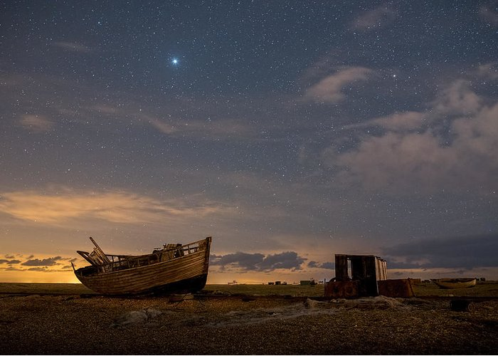 Dungeness Greeting Card featuring the photograph View Across Dungeness Peninsula At Night. by David Attenborough
