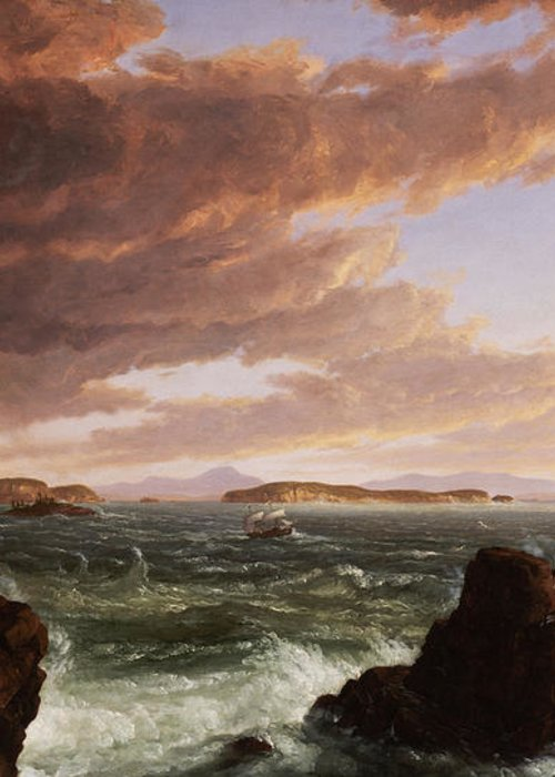 Stormy Weather Greeting Card featuring the painting View Across Frenchman's Bay From Mt. Desert Island After A Squall by Thomas Cole