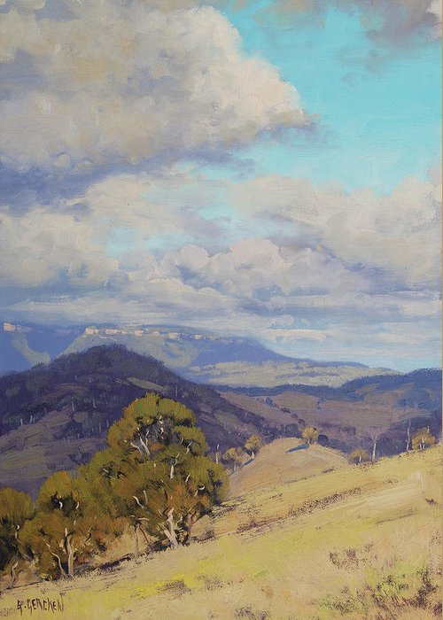Nature Greeting Card featuring the painting View Across The Kanimbla Valley Australia by Graham Gercken