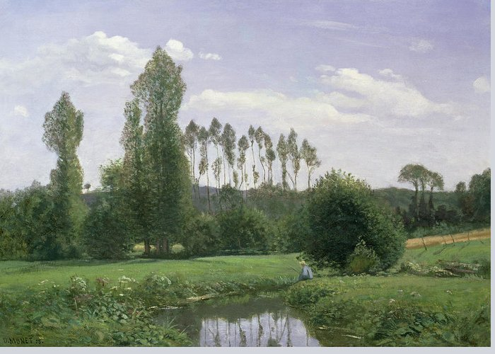 View At Rouelles Greeting Card featuring the painting View At Rouelles by Claude Monet
