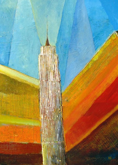 Abstract Cityscape Greeting Card featuring the painting View From 34th St by Habib Ayat