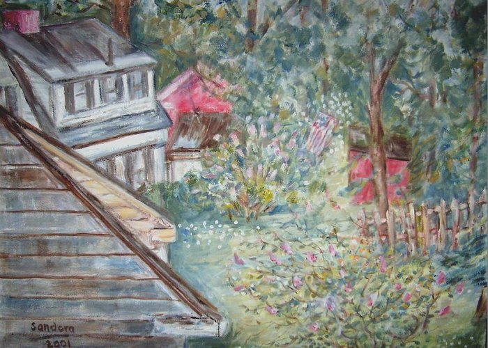 Back Yard Flowers Trees Houses View Landscape Greeting Card featuring the painting View From A Bedroom Window by Joseph Sandora Jr