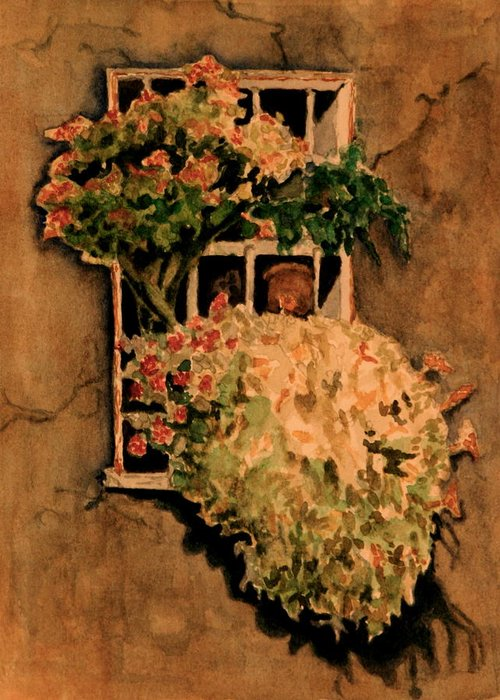 Flowers Greeting Card featuring the painting View From A Roman Window by Dan Earle