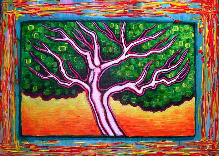Tree Greeting Card featuring the painting View From A Window by Brenda Higginson