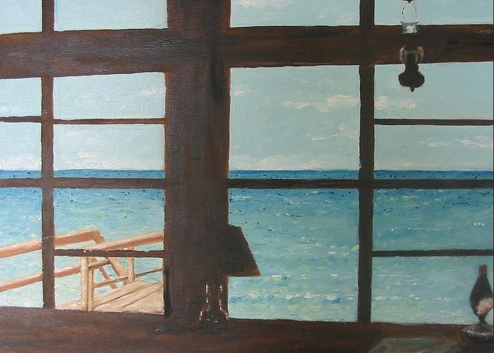 Seascape Greeting Card featuring the painting View From Blue House II by John Terry