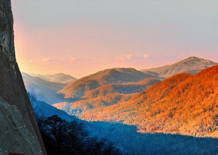 Landscape Greeting Card featuring the photograph View From Chimney Rock-north Carolina by Steve Karol